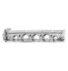 Pons ariminum municipality vintage engraving vector