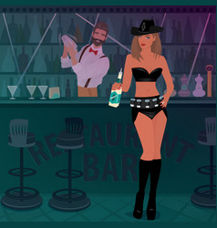 promo girl offers alcoholic drink in the bar vector image