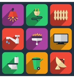 Utilities icons in flat style vector