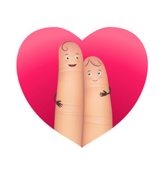 finger couple in red heart vector image vector image