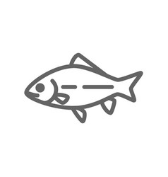 simple fish and carp line icon symbol and sign vector image