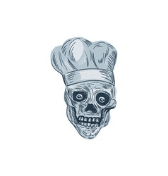 Skull Chef Cook Drawing vector image vector image
