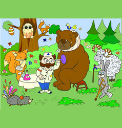 veterinarian treats animals in the forest vector image