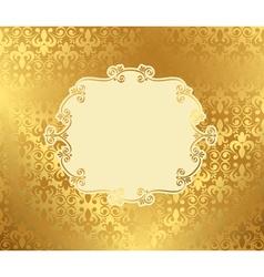 Vintage frame on damask background golden vector image