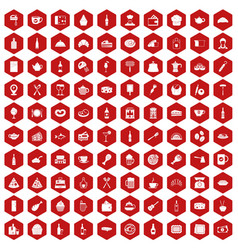 100 restaurant icons hexagon red vector image