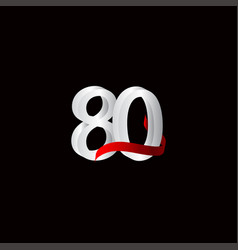80 years anniversary celebration number black vector
