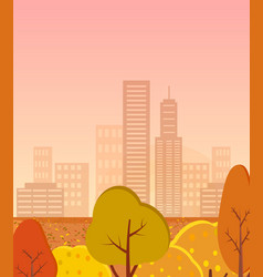 autumn city with golden trees vector image