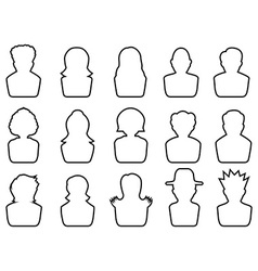 avatar outline icons set vector image