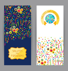 banners with bright colorful fireworks and salute vector image