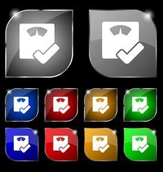 Bathroom scales icon sign Set of ten colorful vector
