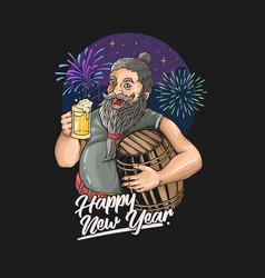 Beard oldman new year celebration drink beer illus vector