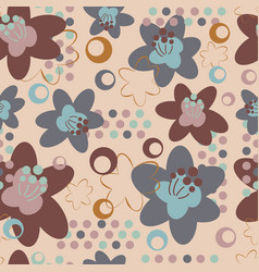 beautiful floral seamless pattern with geometric vector image