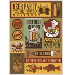 beer retro set vector image
