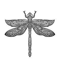 Bllack and white dragonfly in mandala style vector