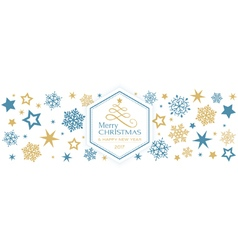 Blue golden snowflake Merry Christmas vector image vector image