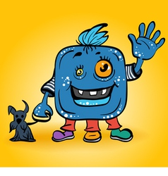 Blue monster with dog vector