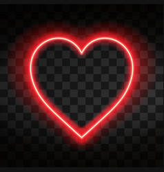 bright neon heart heart sign on dark transparent vector image
