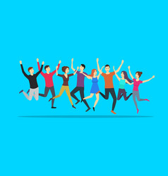cartoon color jumping characters people on a blue vector image