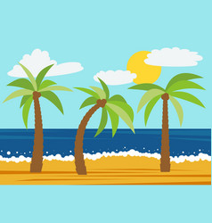cartoon nature landscape with three palms vector image
