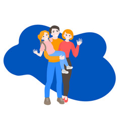 cartoon portrait happy family vector image