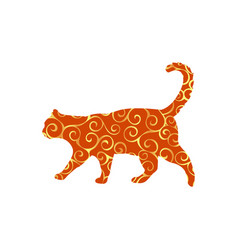 Cat pet spiral pattern color silhouette animal vector