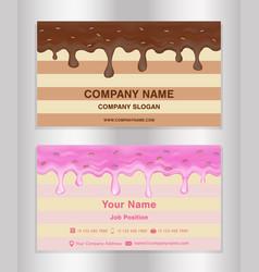 chocolate and doughnut glaze theme business card vector image