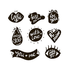 Collection of text labels with love messages vector