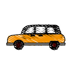 Color crayon stripe automobile vehicle transport vector