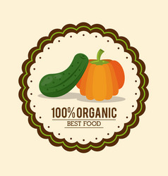 Colorful logo of organic best food with cucumber vector
