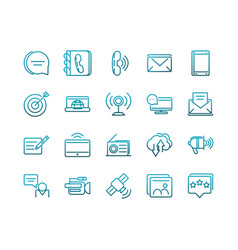 Communications talk information broadcast icons vector