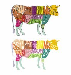 cow parts vector image