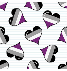 cute asexual heart cartoon seamless pattern vector image
