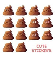 Cute poops set vector