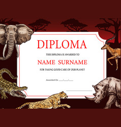 Diploma with african wild sketch animals design vector