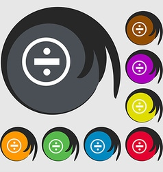 Dividing icon sign Symbols on eight colored vector