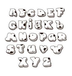 Doodle font family comic alphabet fat vector