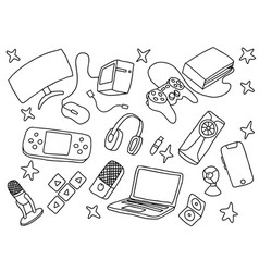 doodle games game art with gaming tools hardware vector image