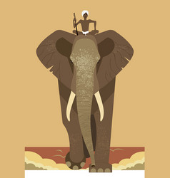 elephant and mahout vector image