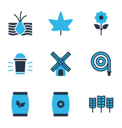 farm icons colored set with plant seed hose vector image