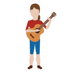 female avatar playing a guitar vector image