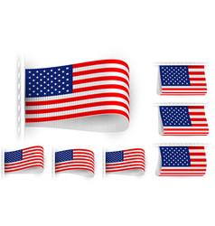Flag tag clothes label sticker sewn set usa vector