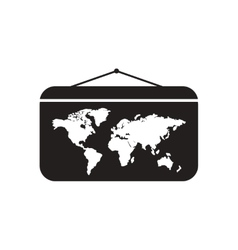 Flat icon in black and white World map vector