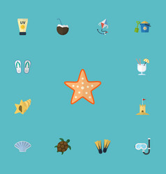 Flat icons cocos conch castle and other vector