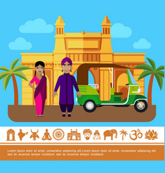 flat india travel colorful concept vector image