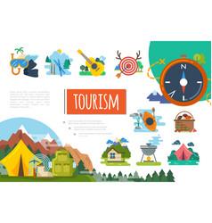 flat tourism colorful composition vector image