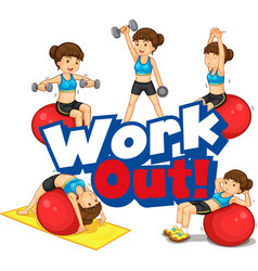 font design for word work out with woman doing vector image
