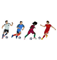 football soccer players group vector image