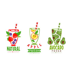 fresh fruit and vegetable juice in glass with vector image