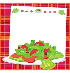 Fresh vegetable salad card vector