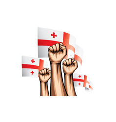 Georgia flag and hand on white background vector